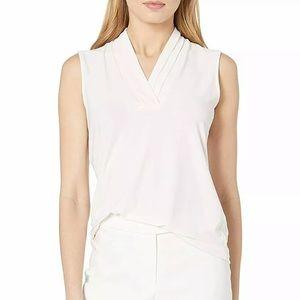 Anne Klein pleated v neck career blouse Sz S NWT
